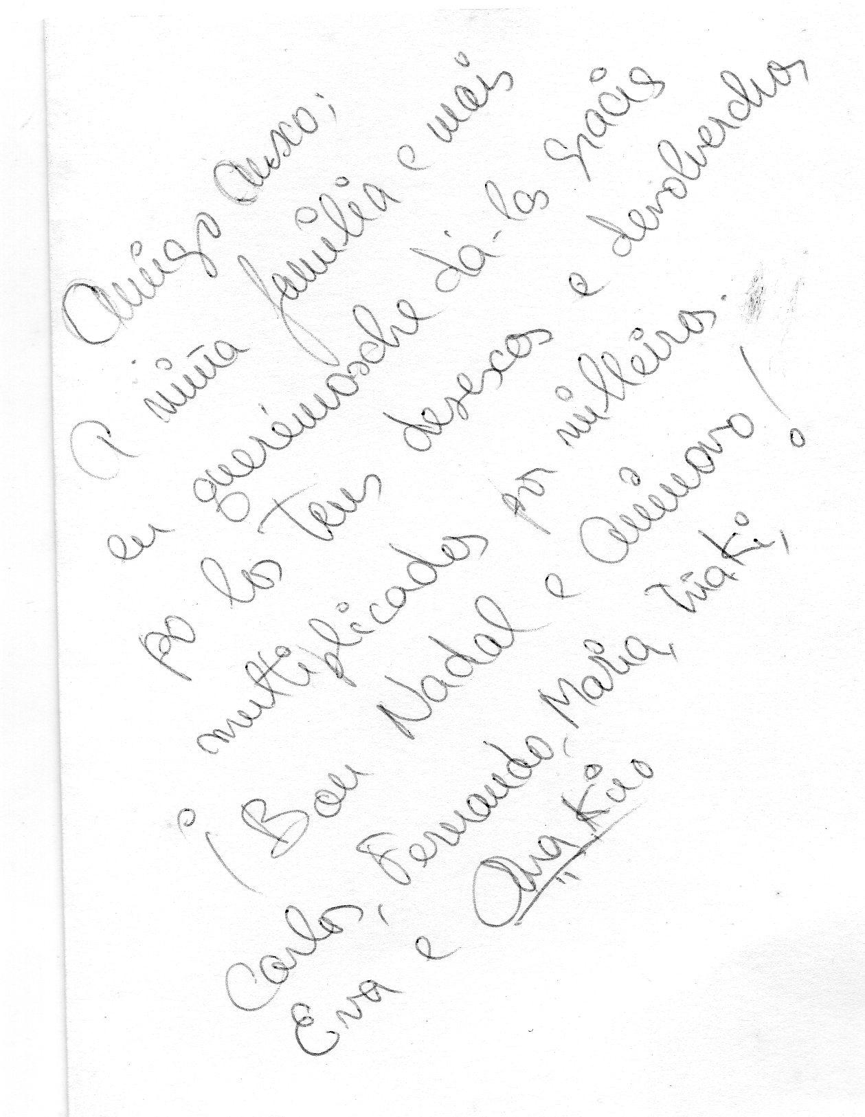 Carta de Ana Kiro a Anxo Lamas